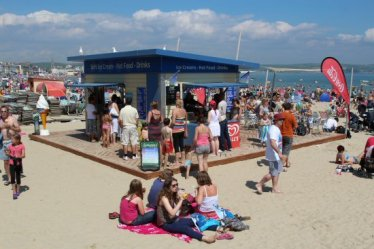 Beach kiosk. Weymouth and Portland Sailing, Olympic Games 2012
